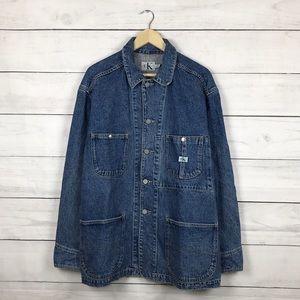 Vintage 1990s Calvin Klein Denim Chore Barn Jacket